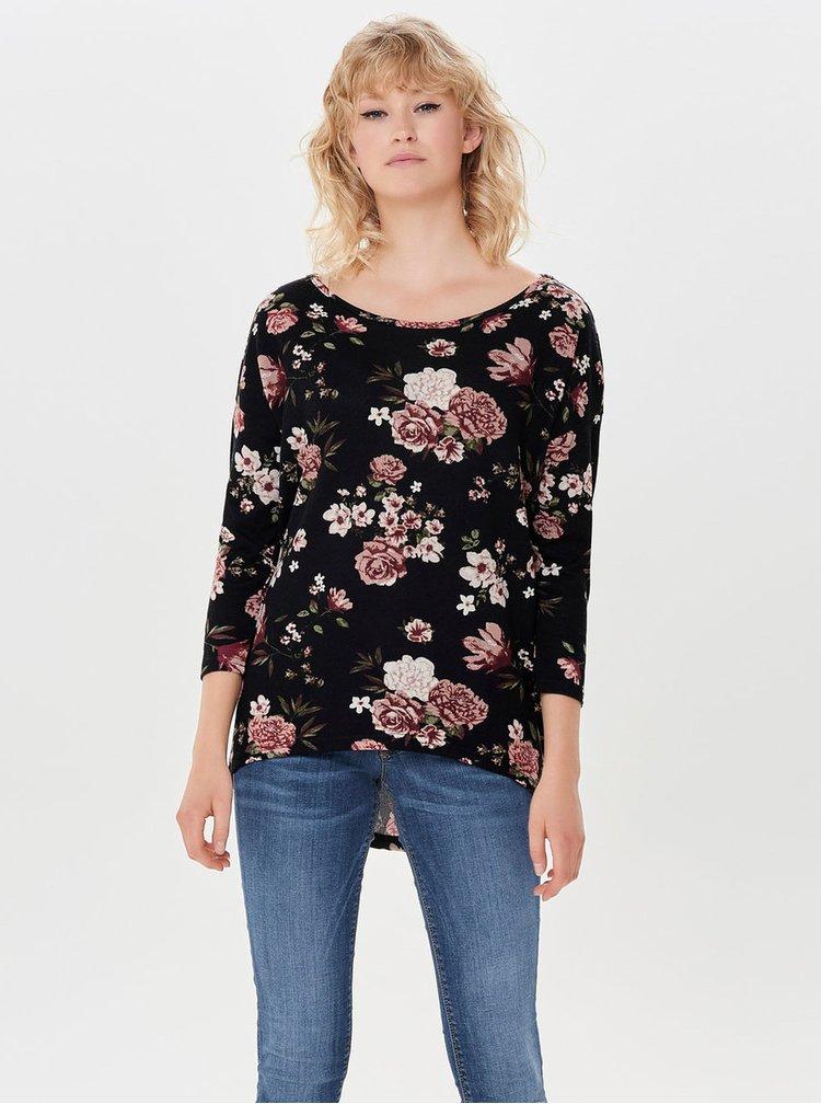 Černé květované volné tričko ONLY Elcos