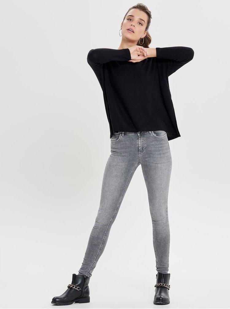 Čierny sveter s rozparkami ONLY Kleo