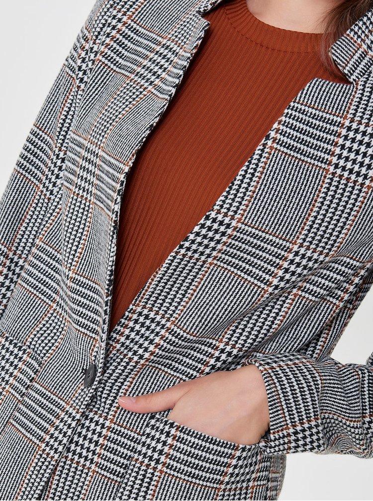 Béžovo-čierny vzorovaný kabát ONLY Helen
