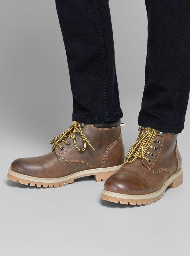 Hnědé pánské kožené kotníkové boty Jack & Jones Stoke