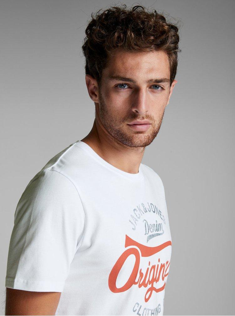 Bílé tričko s potiskem a s krátkým rukávem Jack & Jones Fara Tee