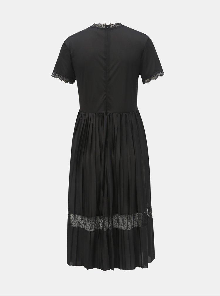 Černé šaty s průsvitným topem a plisovanou sukní Jacqueline de Yong