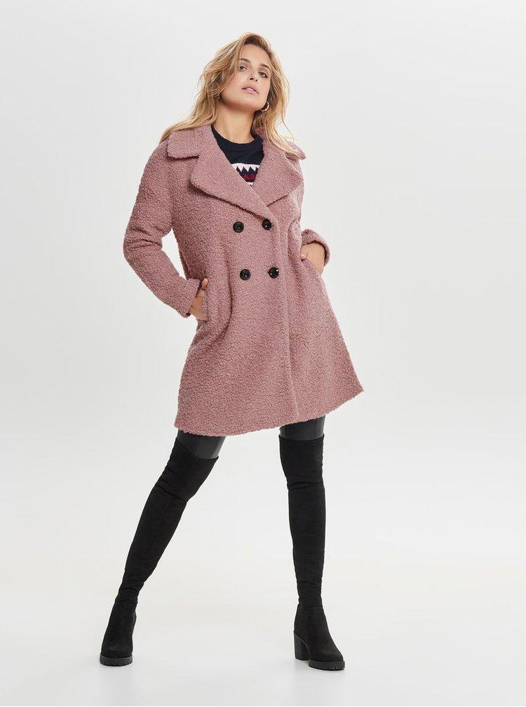 Pardesiu roz din lana cu nasturi ONLY Paloma