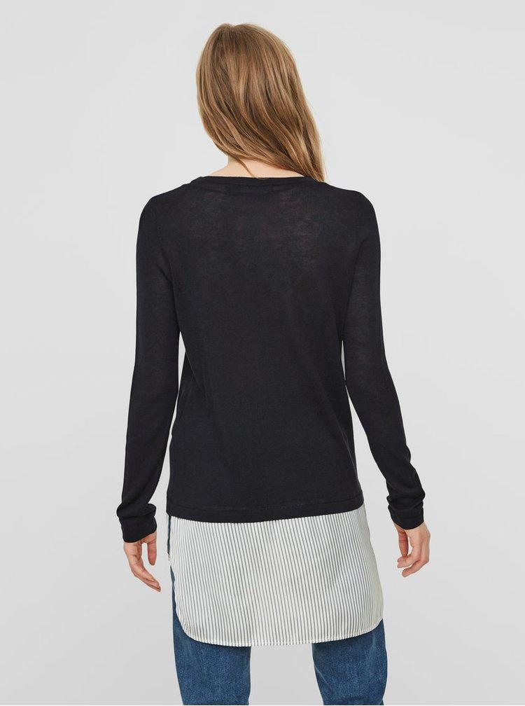 Tmavě modrý lehký svetr s všitou košilovou částí VERO MODA Ania