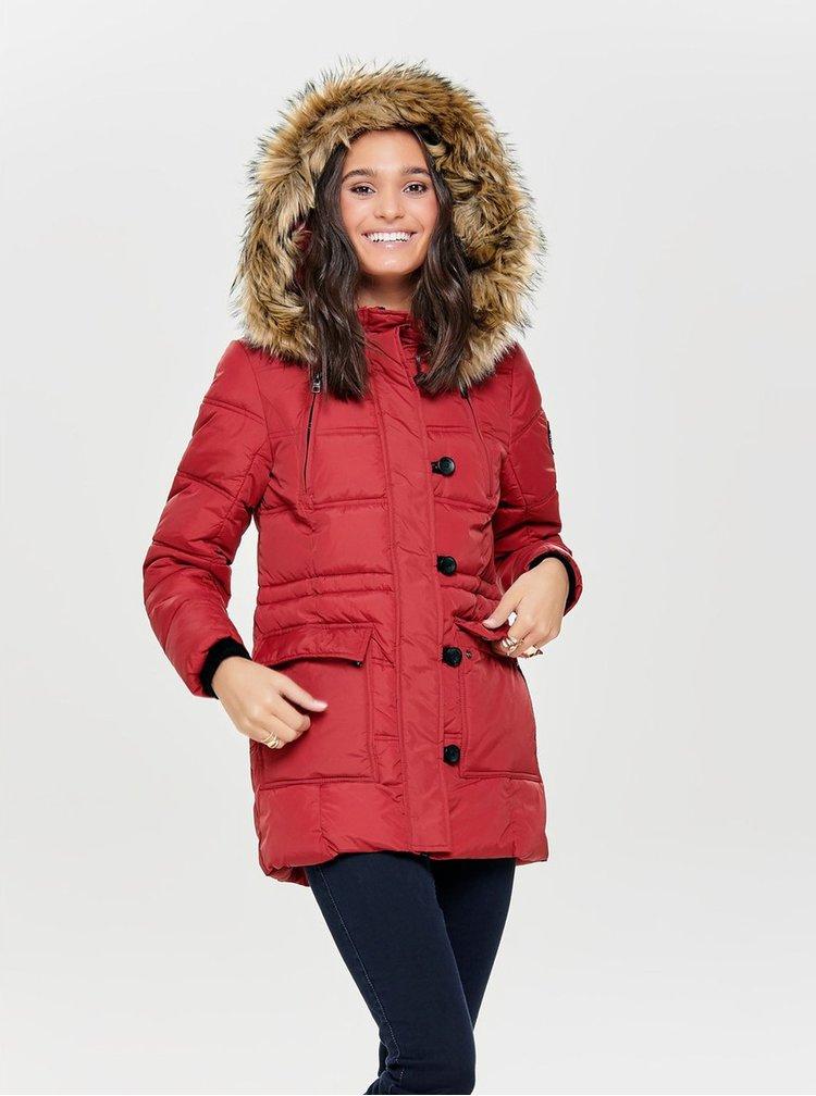Červený dámský kabát nad kolena Tranquillo ALIKI  6bcec20cec