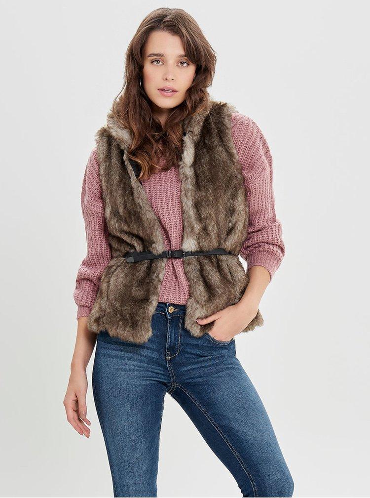 Hnědá vesta z umělého kožíšku s páskem ONLY New Amy