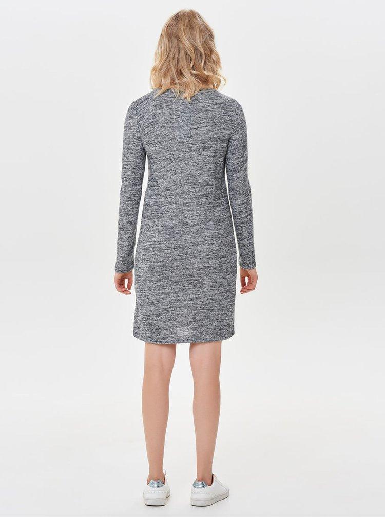 Světle šedé žíhané šaty s dlouhým rukávem ONLY