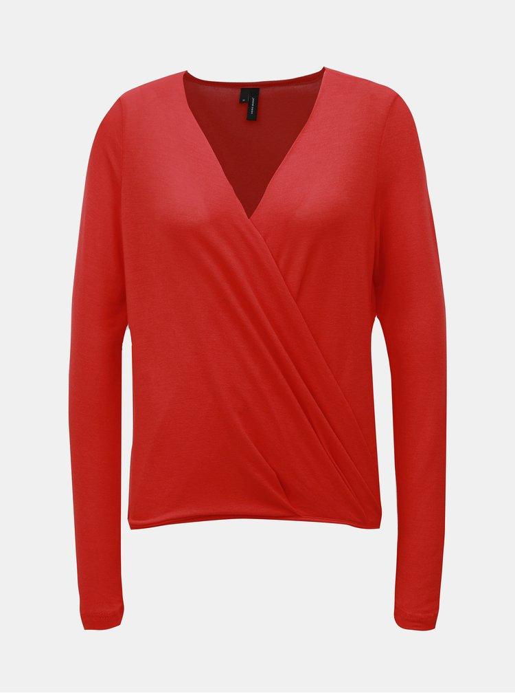 Červené tričko s prekladaným predným dielom VERO MODA Peja