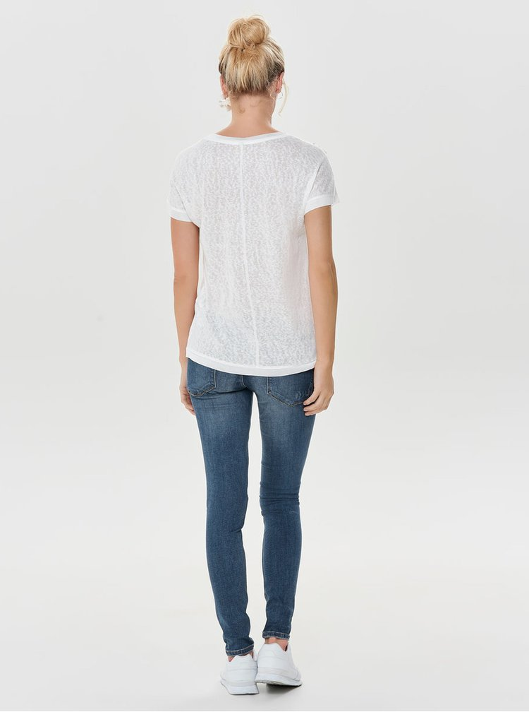 Bílé tričko s korálkovou aplikací ONLY