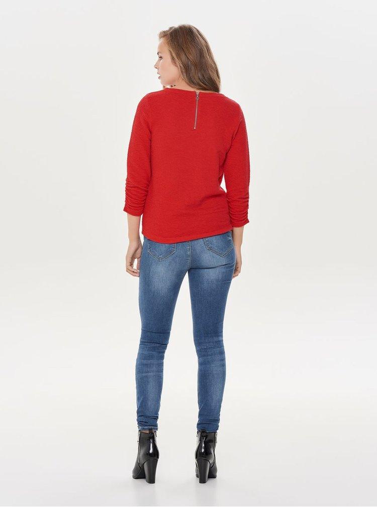 Červené tričko s 3/4 rukávem ONLY