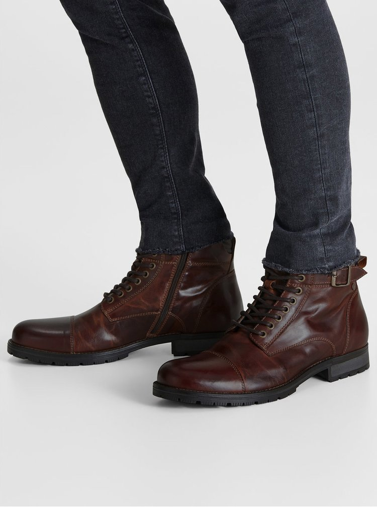 Tmavě hnědé pánské kožené kotníkové boty s přezkou Jack & Jones Bany