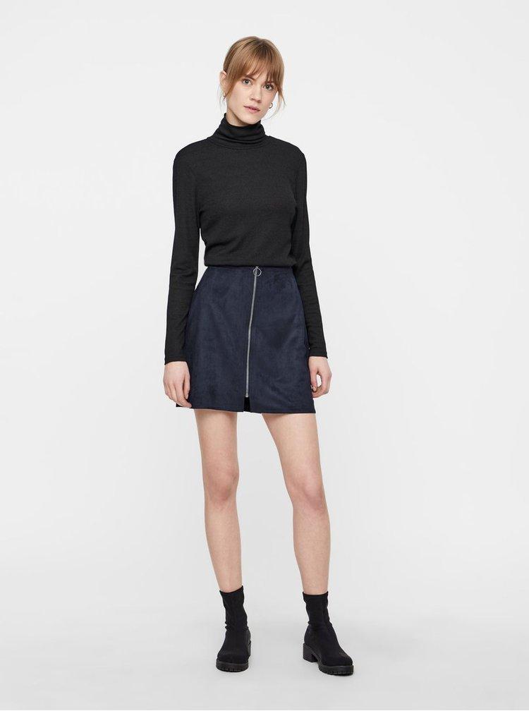 Tmavomodrá sukňa v semišovej úprave so zipsom VERO MODA Need