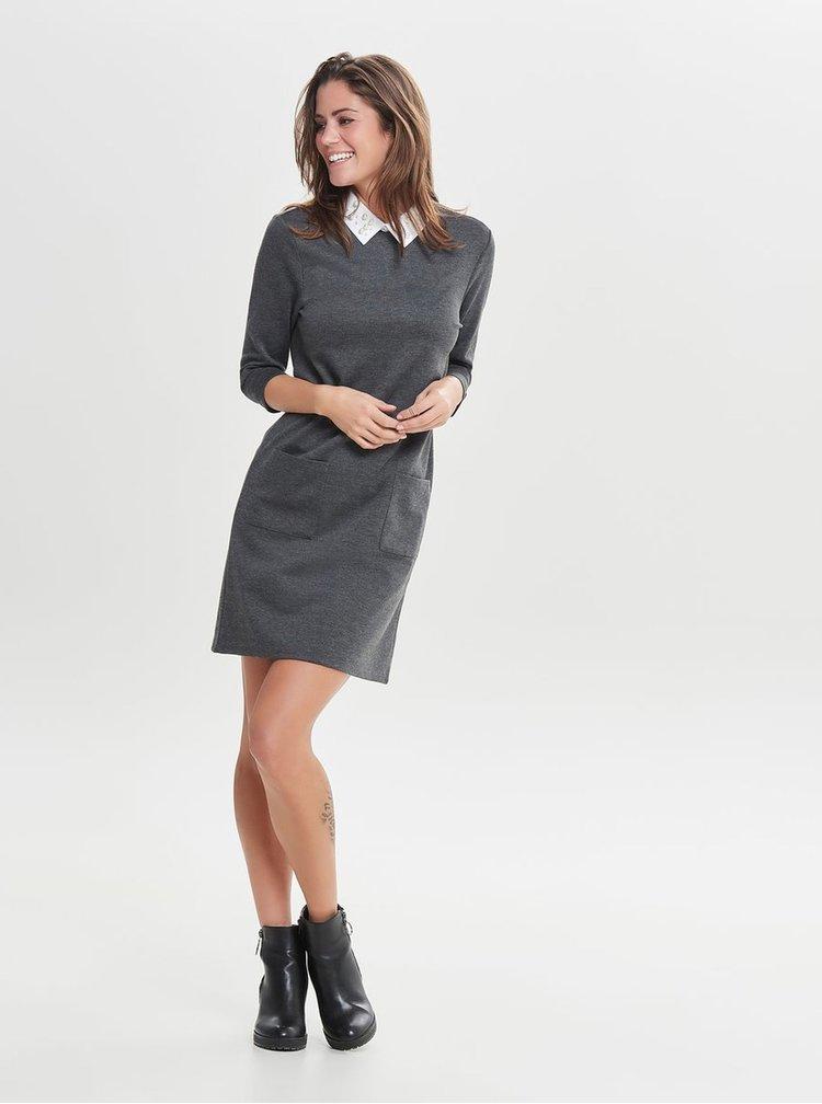 Sivé melírované šaty s golierikom ONLY Mally