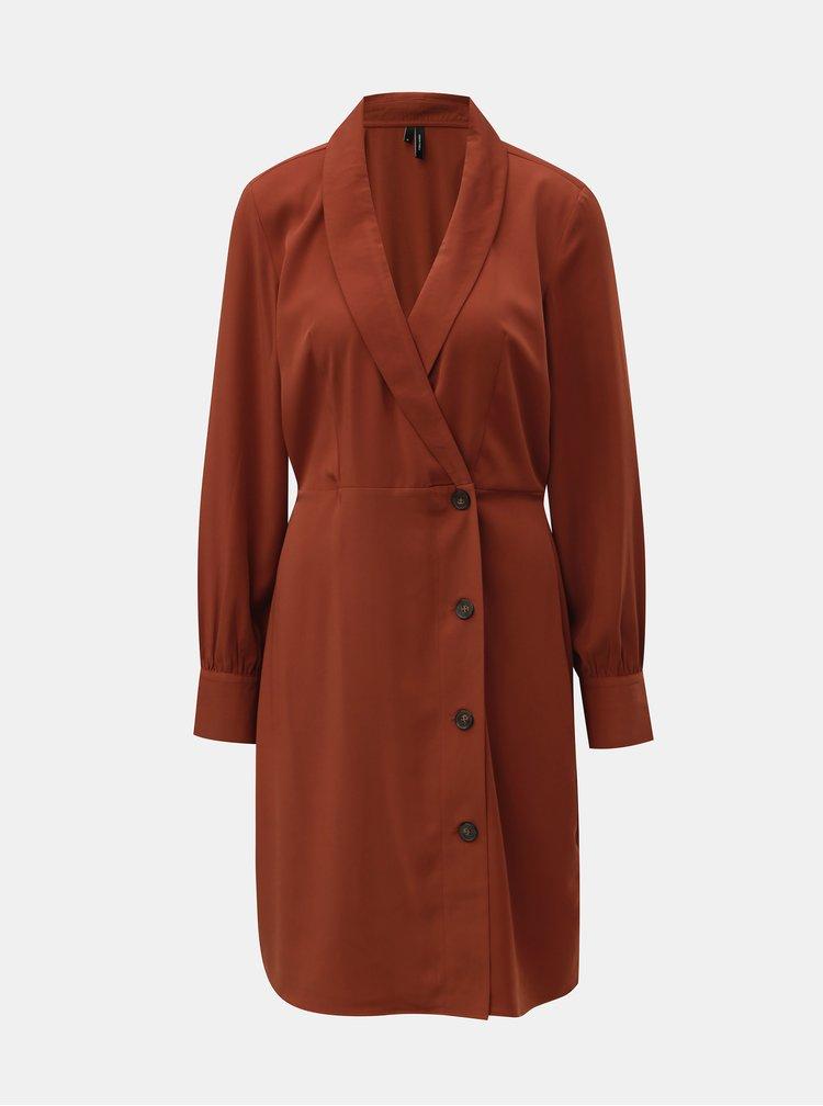 Hnědé šaty s dlouhým rukávem a překládaným výstřihem VERO MODA Pearl