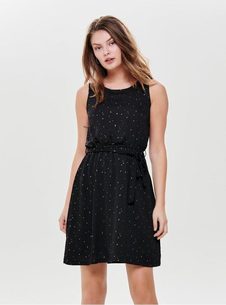 Černé šaty s puntíky ve zlaté barvě a gumou v pase ONLY Marbella