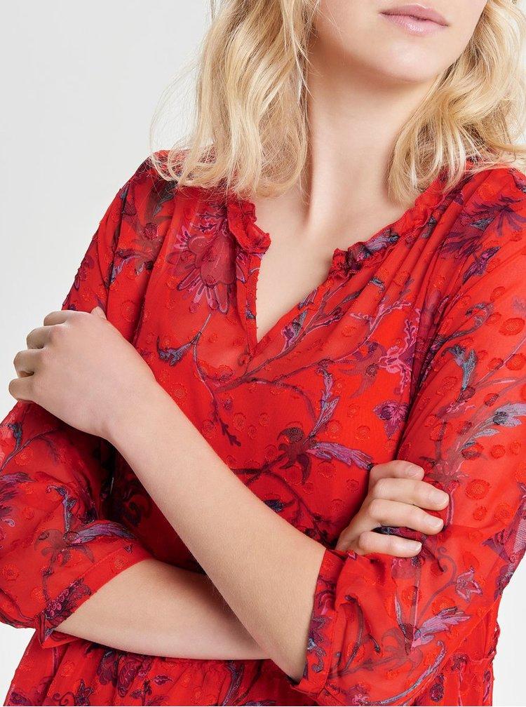Rochie midi rosie florala lejera cu decolteu in V ONLY Celine