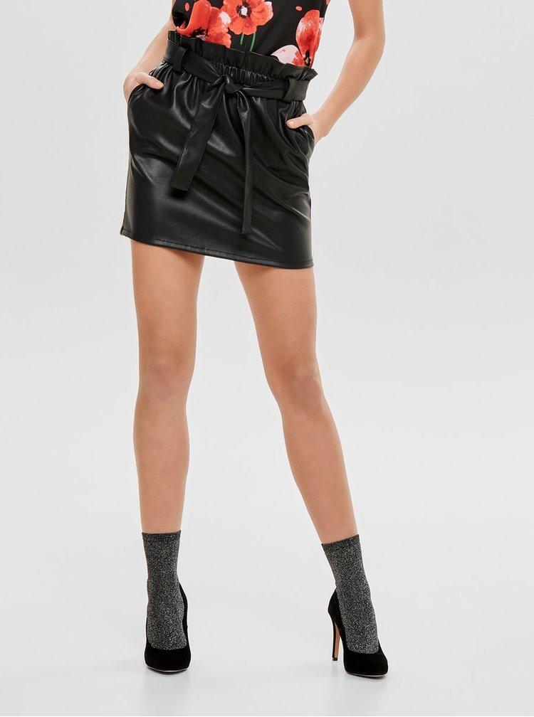 Černá koženková sukně s gumou v pase ONLY Coc