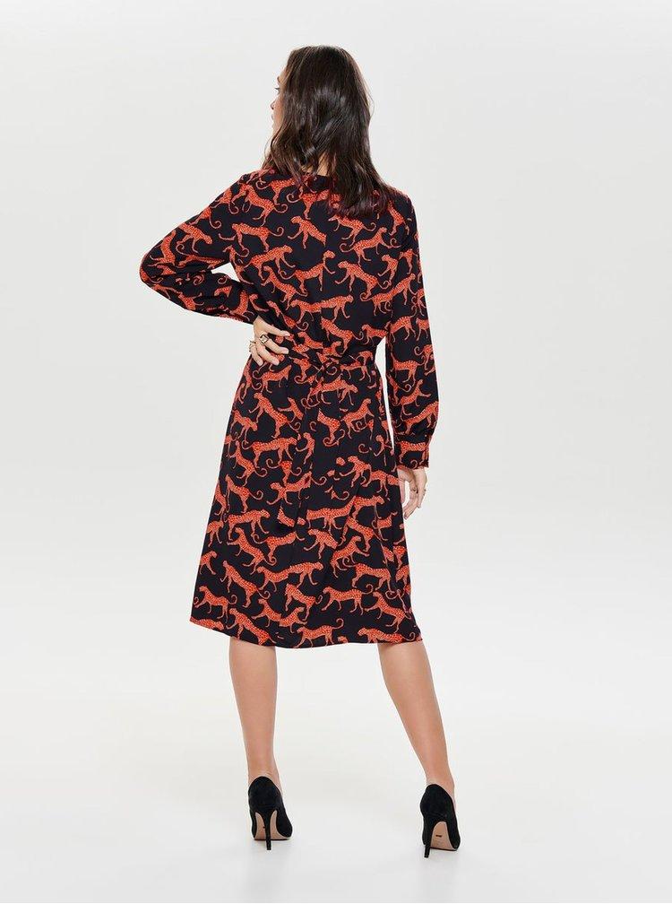 Červeno-černé vzorované šaty se zavazováním ONLY Caysa
