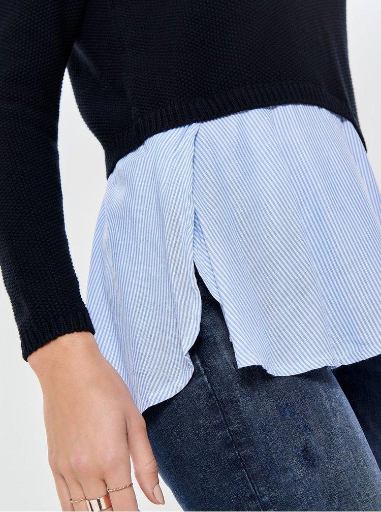 Černý svetr s všitou košilovou částí ONLY Janelle