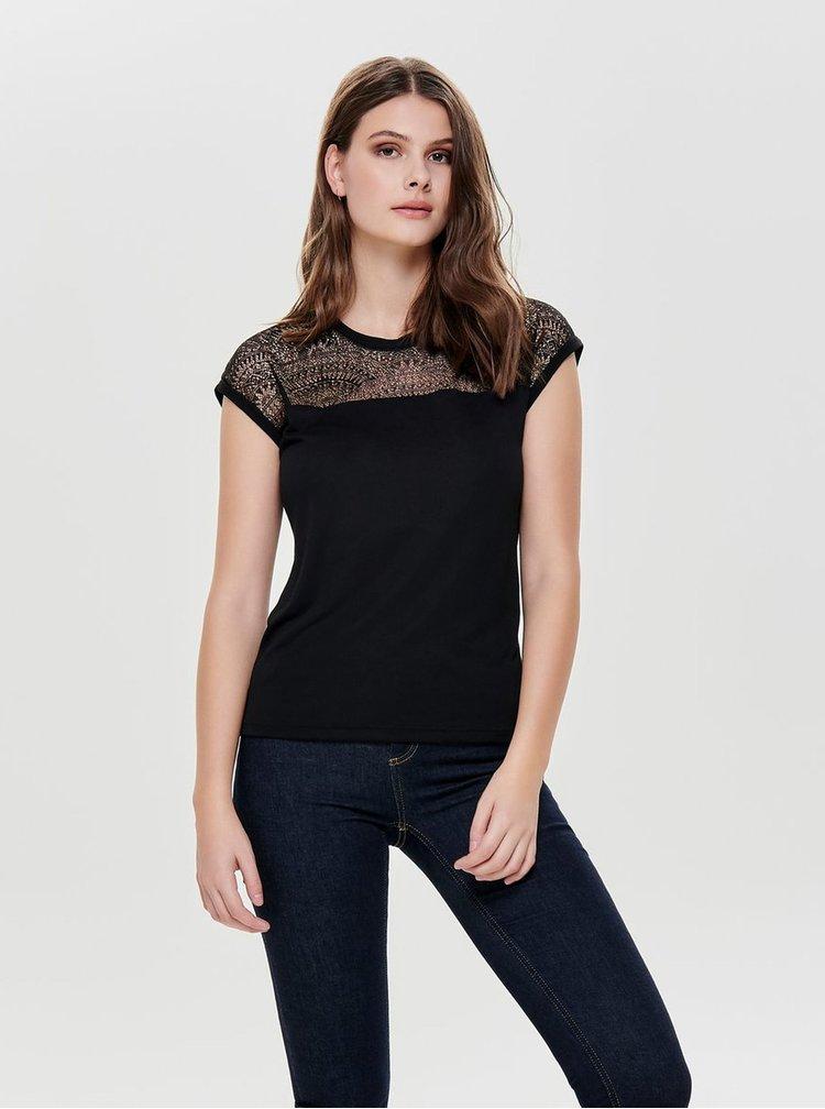 Tricou negru cu detaliu din dantela ONLY Kirsty