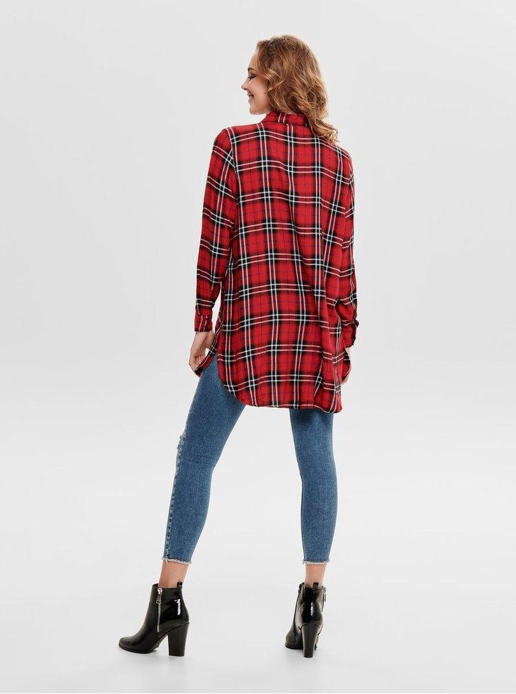 Čierno–červená dlhá károvaná košeľa ONLY