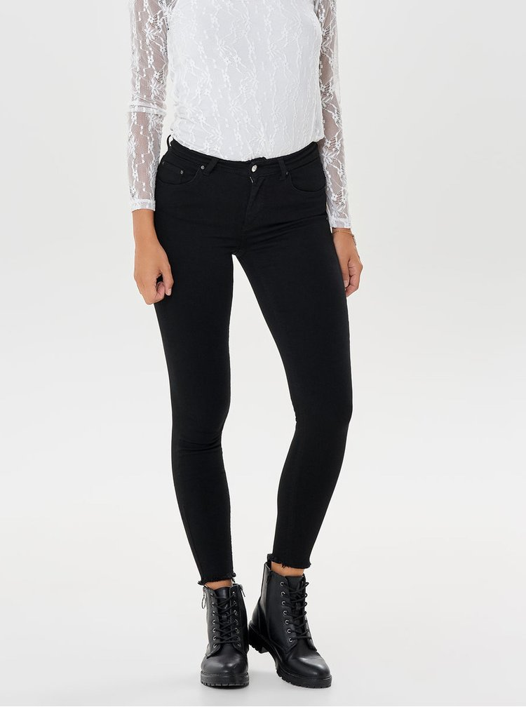 Černé zkrácené skinny fit džíny ONLY Blush
