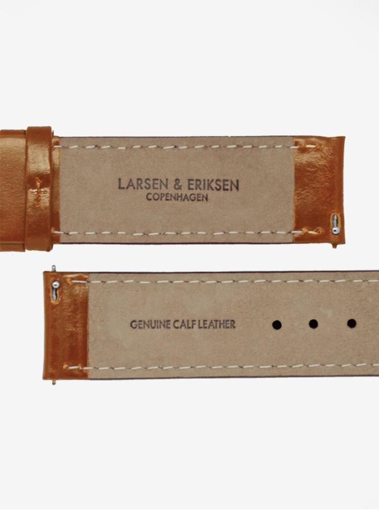 Ceas unisex negru cu curea maro din piele naturala - LARSEN & ERIKSEN