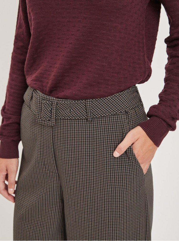 Hnedé široké kockované nohavice s opaskom VILA Lub