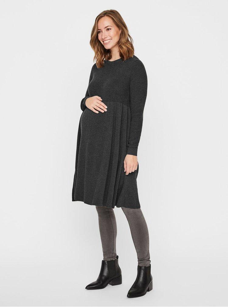 Rochie gri inchis tricotata pentru femei insarcinate Mama.licious Zoe
