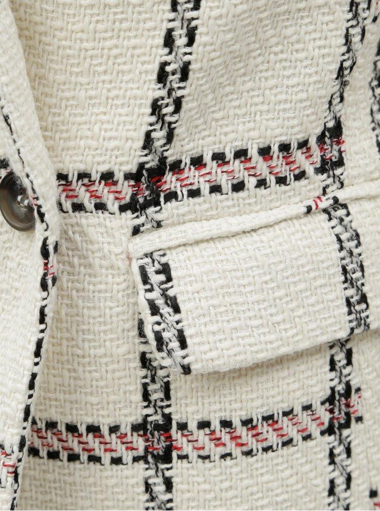 Krémové kostkované sako s dvouřadými knoflíky ONLY Carmen