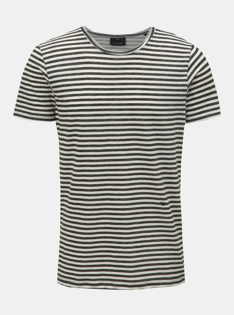 Krémovo-zelené pruhované tričko s kulatým výstřihem JUNK de LUXE