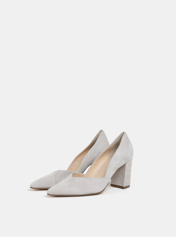 Pantofi gri deschis din piele intoarsa Högl