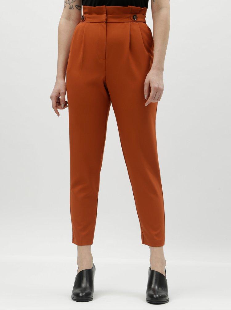 Pantaloni oranj pana la glezne cu talie inalta Miss Selfridge