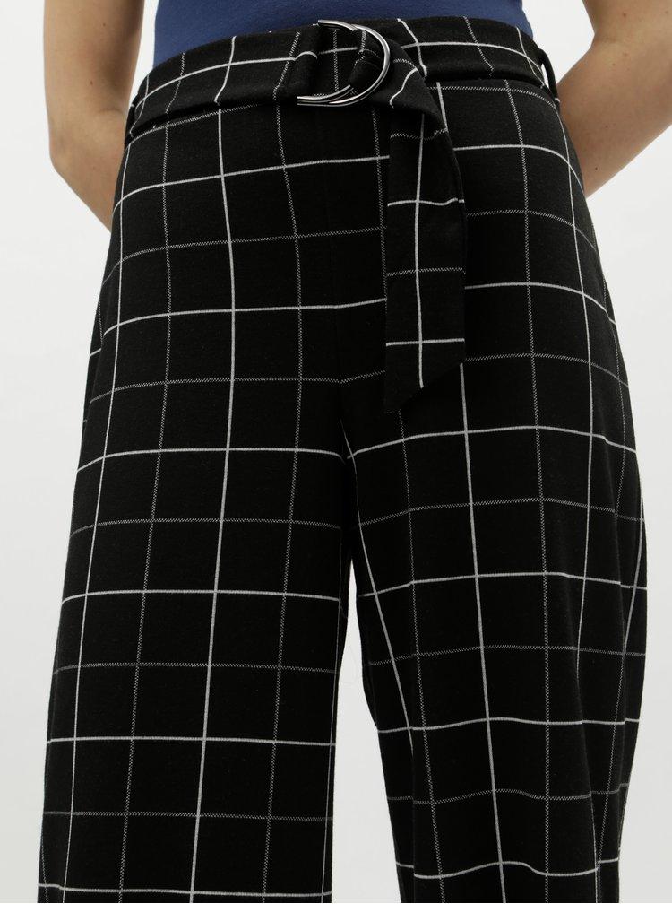 Pantaloni largi negri in carouri cu talie inalta Miss Selfridge Petites