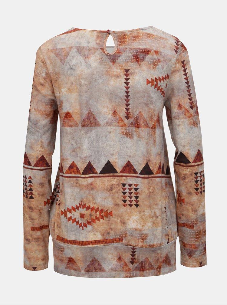Oranžovo–béžové vzorované tričko s dlhým rukávom Yest