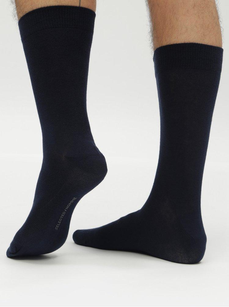 Sada tří párů tmavě modrých ponožek Selected Homme Cotton