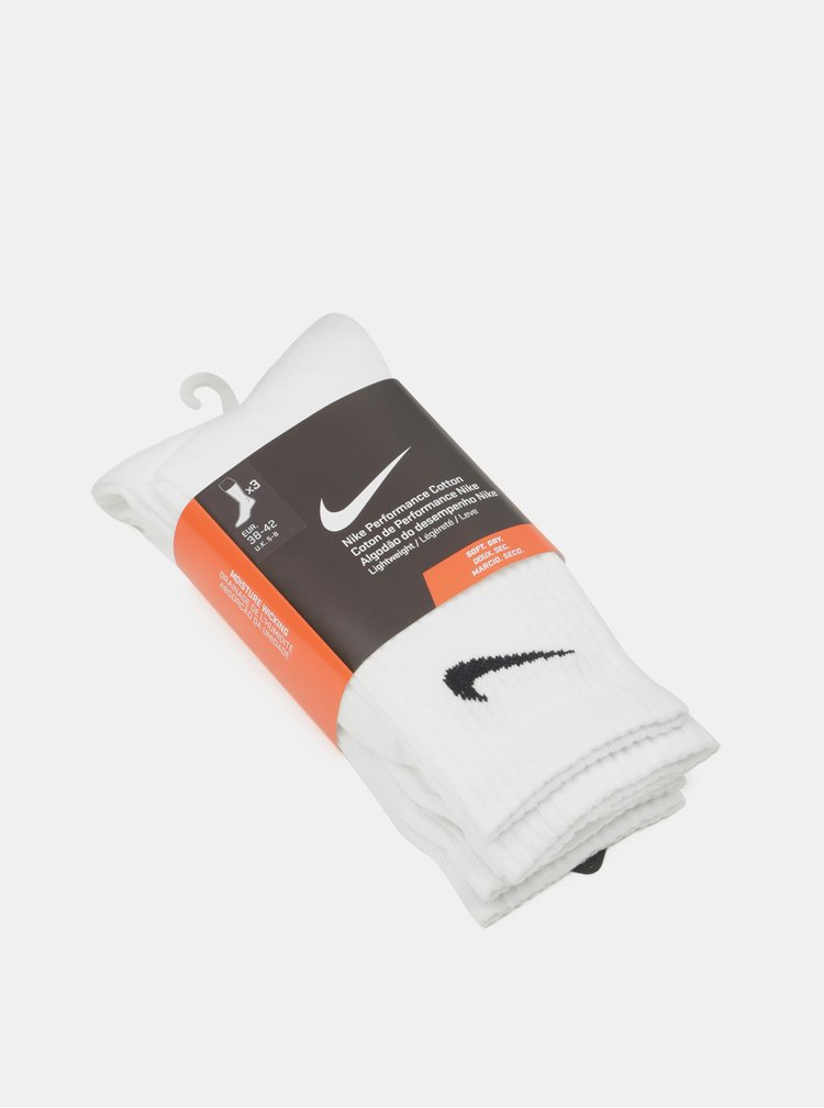 Set de 3 perechi de sosete albe lungi Nike Lightweight