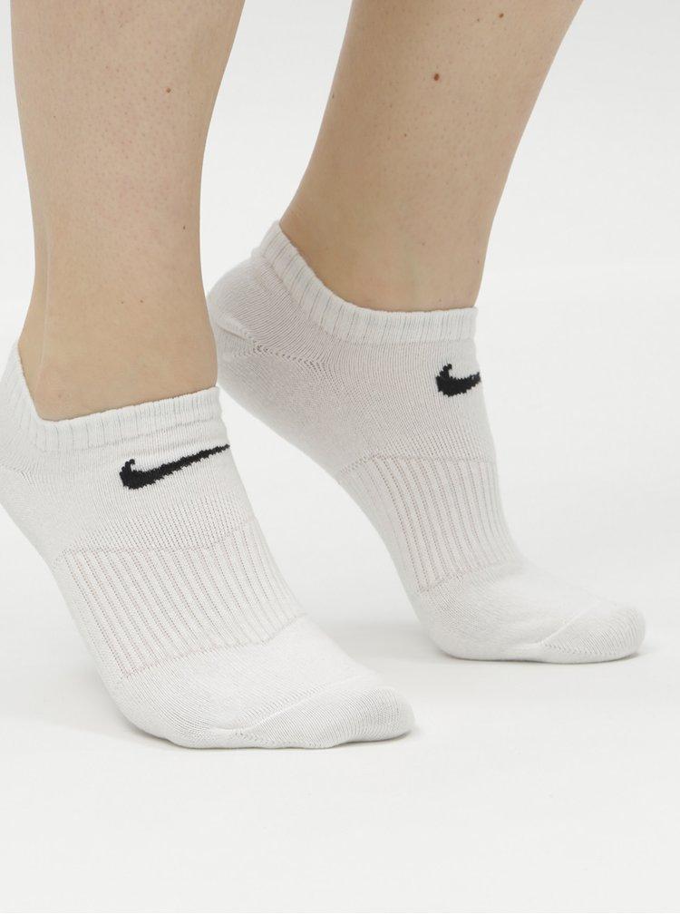 Sada tří párů kotníkových ponožek v bílé barvě Nike Lightweight
