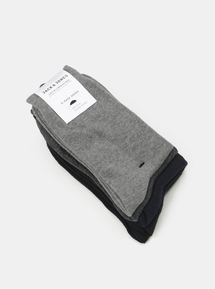 Sada pěti párů ponožek v černé a šedé barvě Jack & Jones Jens
