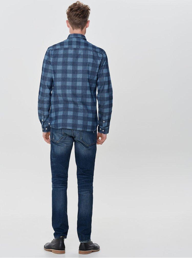 Modrá kostkovaná slim košile ONLY & SONS