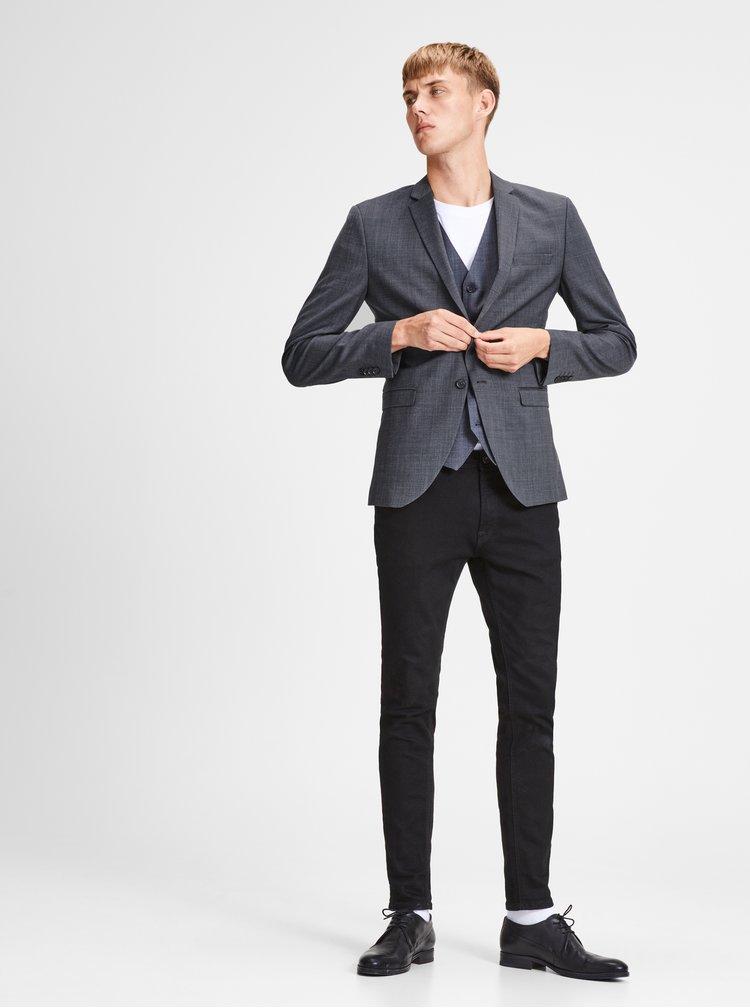 Sivé melírované oblekové sako s prímesou vlny Jack & Jones Laris