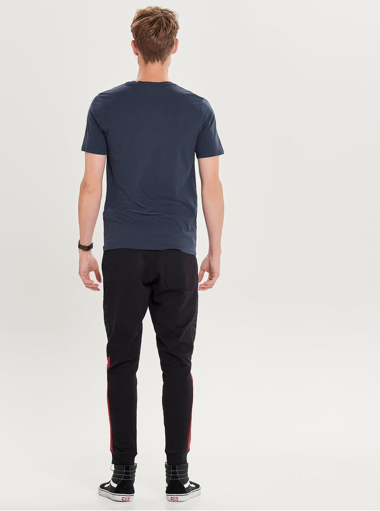 Tricou albastru inchis cu print ONLY & SONS