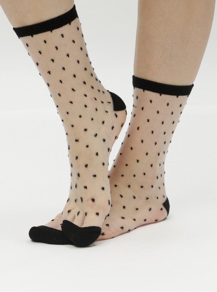 Čierno-biele priesvitné vzorované ponožky Gipsy