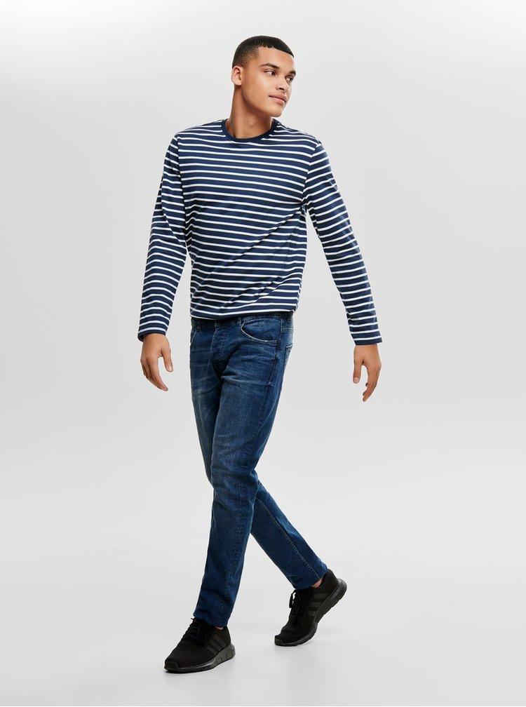 Tricou alb-albastru in dungi regular cu maneci lungi ONLY & SONS Evan