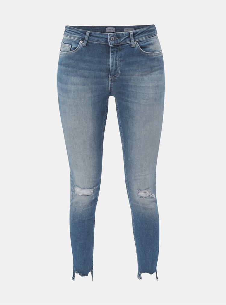 Modré skinny džíny s potrhaným efektem ONLY Blush