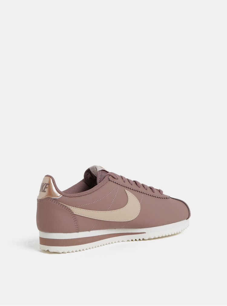 Starorůžové dámské kožené tenisky Nike Classic Cortez