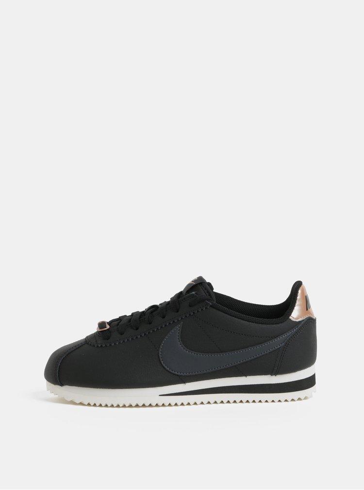 Pantofi sport negri de dama din piele Nike Classic Cortez