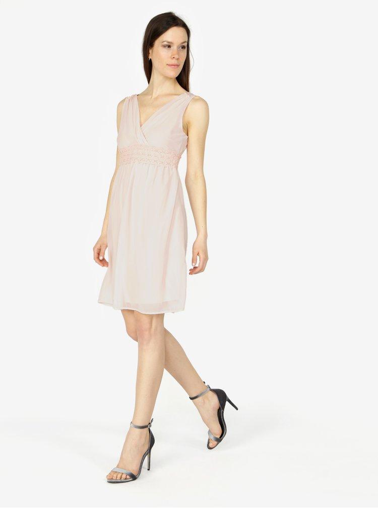 Svetloružové šaty s véčkovým výstrihom VERO MODA Mira