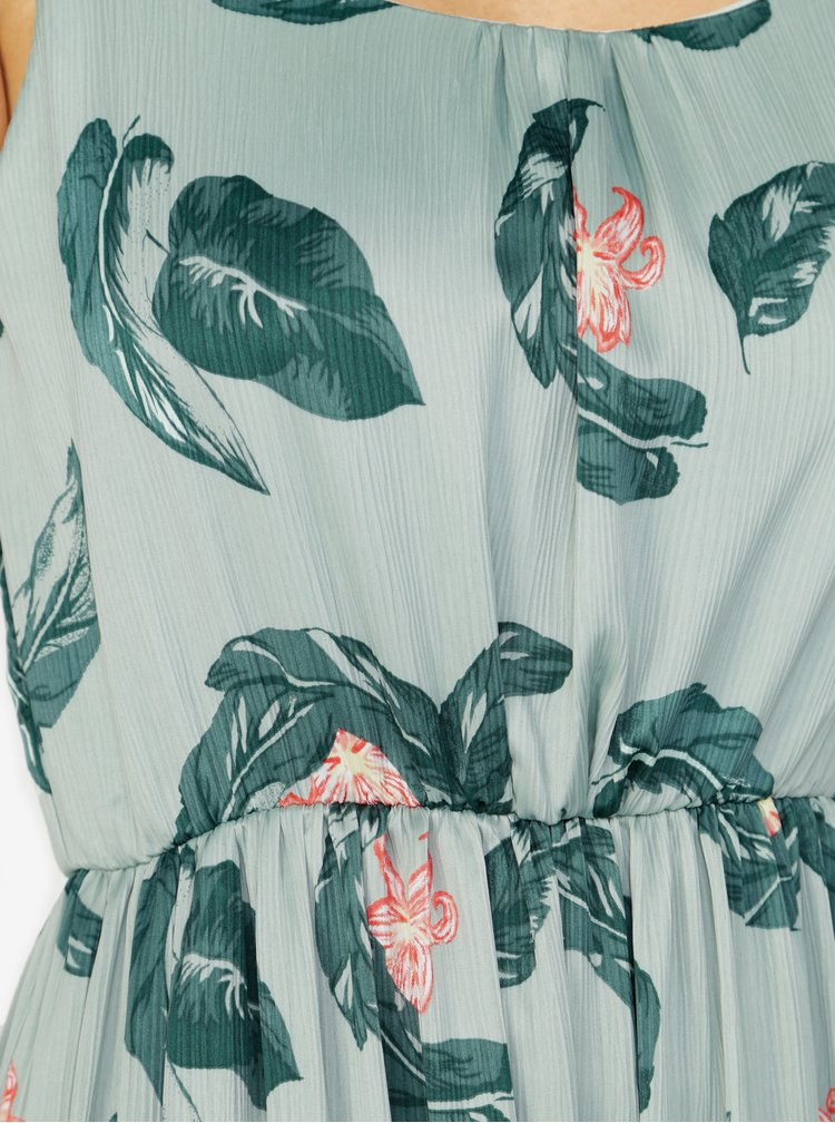 Rochie maxi verde cu print si volan la terminatie -  VERO MODA Kate