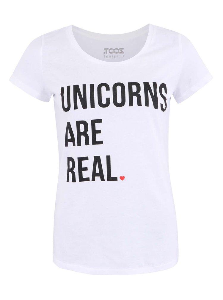 Bílé dámské tričko ZOOT Originál Unicorns Are Real